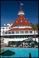Swimming pool and tower,  Del Coronado hotel. San Diego, California, USA (color)