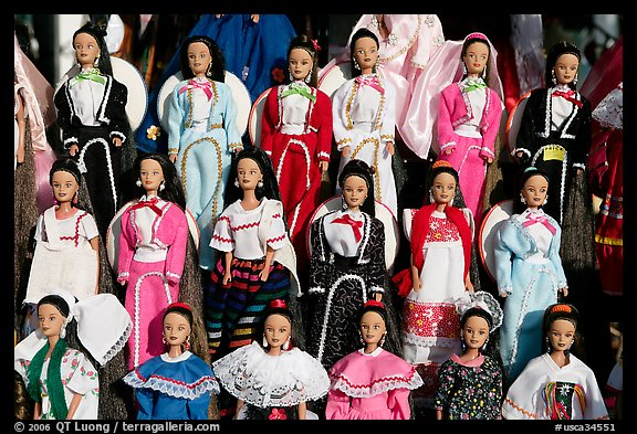 Mexican style dolls, Old Town. San Diego, California, USA (color)