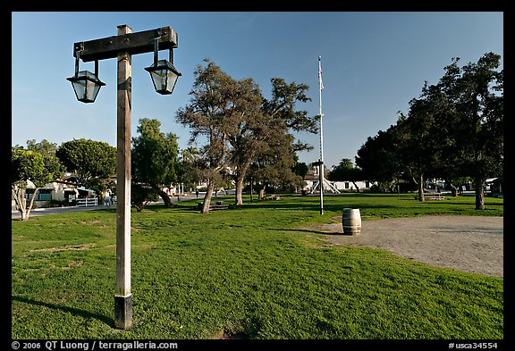 The Plaza, laid out in 1820, Old Town State Historic Park. San Diego, California, USA (color)
