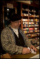 Clerk in Tobacco shop, Old Town. San Diego, California, USA ( color)