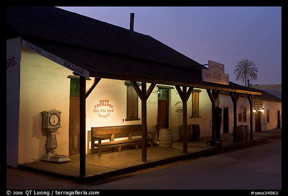 Historic building at night, Old Town State Historic Park. San Diego, California, USA (color)