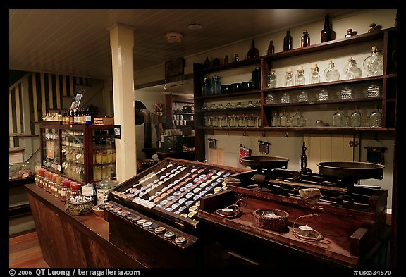 Interior of apothicary store, Old Town. San Diego, California, USA (color)
