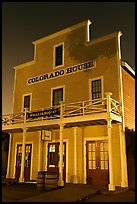 Colorado House at night, Old Town State Historic Park. San Diego, California, USA