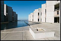 Square fountain and courtyard, Salk Institute. La Jolla, San Diego, California, USA (color)