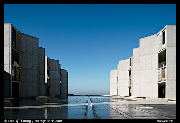 Watercourse bisecting travertine courtyard, Salk Institute. La Jolla, San Diego, California, USA