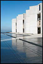Cubist Laboratory blocks reflected in courtyard marble, Salk Institute. La Jolla, San Diego, California, USA ( color)