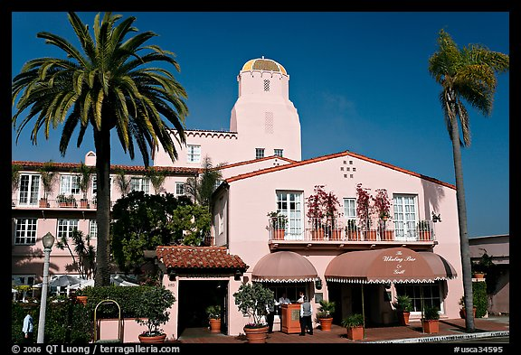 La Valencia Hotel, designed by William Templeton Johnson. La Jolla, San Diego, California, USA