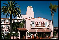 La Valencia Hotel, designed by William Templeton Johnson. La Jolla, San Diego, California, USA (color)
