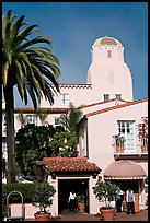 La Valencia Hotel, in spanish colonial style. La Jolla, San Diego, California, USA (color)