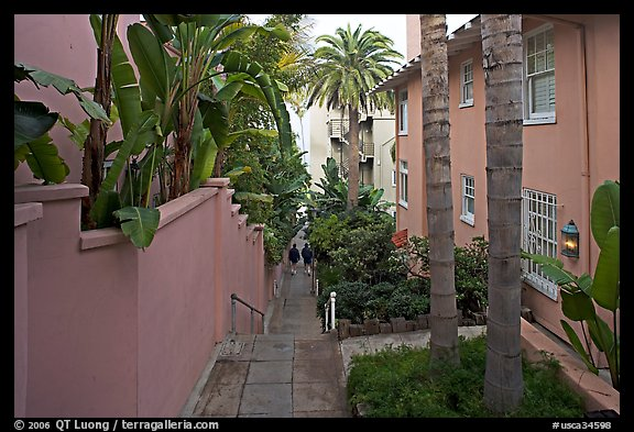 Narrow Alley. La Jolla, San Diego, California, USA