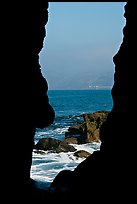 View through a seacave at the Cove. La Jolla, San Diego, California, USA