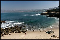 Girls on beach, the Cove. La Jolla, San Diego, California, USA (color)