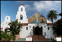 Church Mary Star of the Sea, designed by Carleon Winslow in California Mission style. La Jolla, San Diego, California, USA (color)