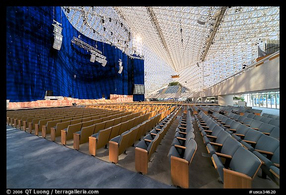 Interior of the Crystal Cathedral with set for the Glory of Christmas. Garden Grove, Orange County, California, USA (color)