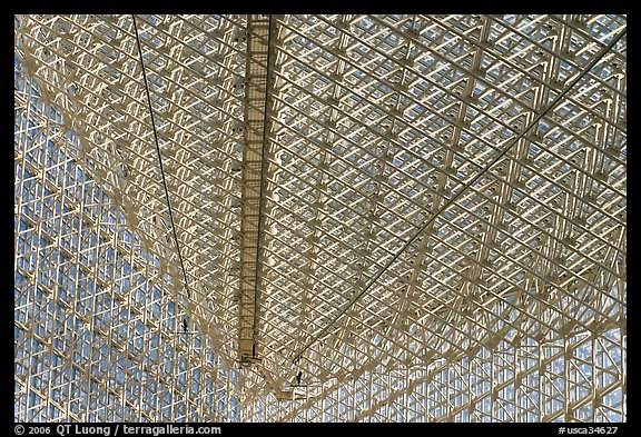 Some of the 10661 windows of the Crystal Cathedral from inside. Garden Grove, Orange County, California, USA (color)