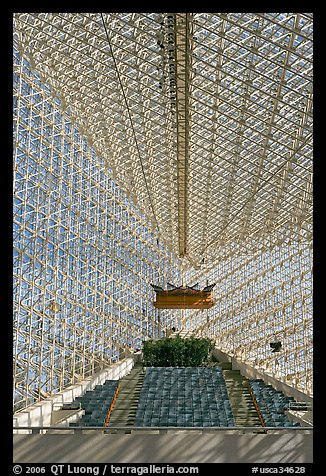 Interior structures of the Crystal Cathedral. Garden Grove, Orange County, California, USA