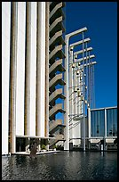 Tower and reflecting pool in the Crystal Cathedral complex. Garden Grove, Orange County, California, USA ( color)