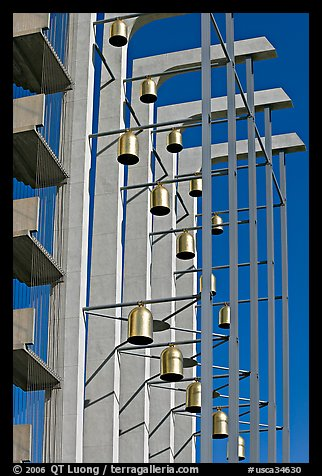 Modern arrangement of Bells in the Crystal Cathedral complex. Garden Grove, Orange County, California, USA (color)