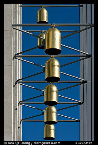 Close up of Bells of  the Crystal Cathedral campus. Garden Grove, Orange County, California, USA (color)