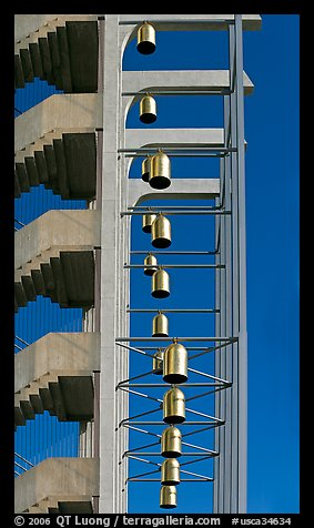 Bells in the Crystal Cathedral campus. Garden Grove, Orange County, California, USA (color)