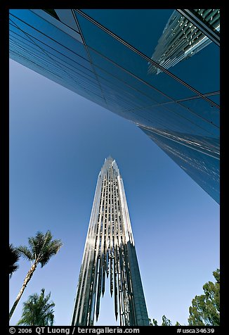 Bell tower and facade of the Crystal Cathedral, designed by Philip Johnson. Garden Grove, Orange County, California, USA (color)