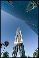 Bell tower and facade of the Crystal Cathedral, designed by Philip Johnson. Garden Grove, Orange County, California, USA