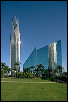 Crystal Cathedral and  bell tower, buildings made of glass for Televangelist Robert Schuller. Garden Grove, Orange County, California, USA