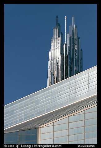 Detail of Bell Tower and Crystal Cathedral. Garden Grove, Orange County, California, USA (color)