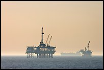 Off-shore drilling platforms and tanker. Huntington Beach, Orange County, California, USA (color)