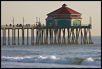 Surf and Huntington Pier, late afternoon. Huntington Beach, Orange County, California, USA (color)