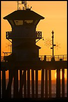Lifeguard tower on Huntington Pier at sunset. Huntington Beach, Orange County, California, USA (color)