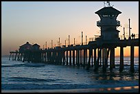 The 1853 ft Huntington Pier at sunset. Huntington Beach, Orange County, California, USA