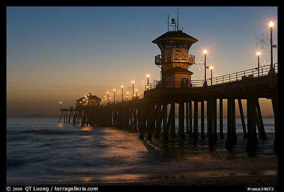 Huntington Pier lights at twilight. Huntington Beach, Orange County, California, USA (color)
