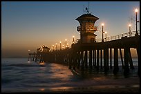 Huntington Pier lights at twilight. Huntington Beach, Orange County, California, USA ( color)