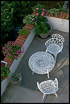 Garden chairs and table seen from above. Laguna Beach, Orange County, California, USA (color)