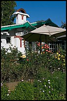 Garden and restaurant. Laguna Beach, Orange County, California, USA (color)