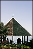 People standing in a Heisler Park Gazebo. Laguna Beach, Orange County, California, USA (color)