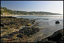 Tidepools and Main Beach, mid-day. Laguna Beach, Orange County, California, USA (color)
