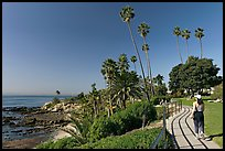 Woman jogging in Heisler Park, next to Ocean. Laguna Beach, Orange County, California, USA
