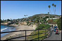 Women pushing babies in strollers in Heisler Park, above Picnic Beach. Laguna Beach, Orange County, California, USA