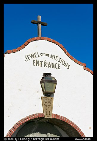 Entrance with sign Jewel of the Missions. San Juan Capistrano, Orange County, California, USA (color)