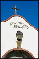 Entrance with sign Jewel of the Missions. San Juan Capistrano, Orange County, California, USA