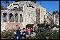 School children visiting the mission. San Juan Capistrano, Orange County, California, USA
