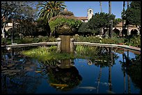 Moorish-style fountain in main courtyard. San Juan Capistrano, Orange County, California, USA