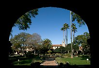 Central courtyard framed by an archway. San Juan Capistrano, Orange County, California, USA (color)
