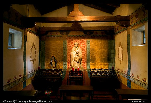 Side chapel dedicated to St Peregrine. San Juan Capistrano, Orange County, California, USA (color)