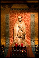 St Peregrine, patron saint of cancer sufferers, Serra Chapel. San Juan Capistrano, Orange County, California, USA (color)