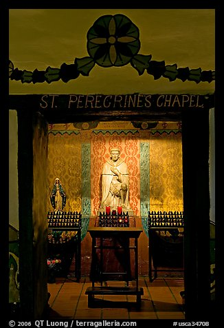 Side chapel in the Serra Chapel. San Juan Capistrano, Orange County, California, USA (color)