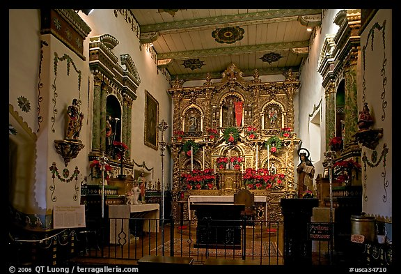 Altar and baroque retablo in the Serra Chapel. San Juan Capistrano, Orange County, California, USA