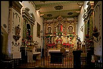 Altar and baroque retablo in the Serra Chapel. San Juan Capistrano, Orange County, California, USA ( color)